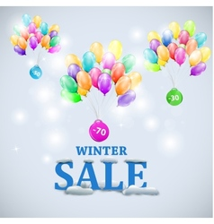 Winter sale with colorful ballons vector