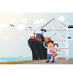 Cargo ship in port vector