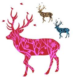 Christmas deer with birds vector