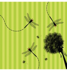 Dandelion and dragonfly vector