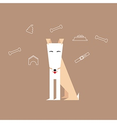 Dog in a flat style with canine icons around vector