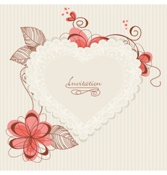 Lace floral heart vector