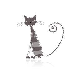 Grey wet cat vector