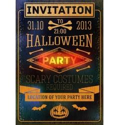 Invitation to halloween party with bats bones vector