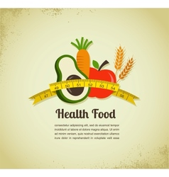 Health food and diet background with measure tape vector