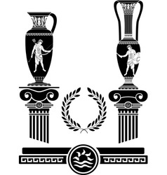 Stencil of ancient columns and jugs vector