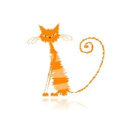 Orange wet cat vector