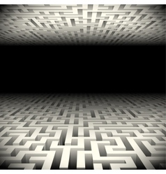 Abstract white perspective labyrinth in the vector