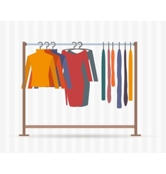 Clothes racks with dresses on hangers vector