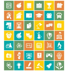 White silhouette square school icons vector