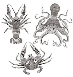 Zentangle stylized octopus king crab crayfish hand vector
