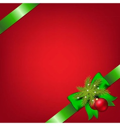 Xmas green ribbons with fir tree and stars vector