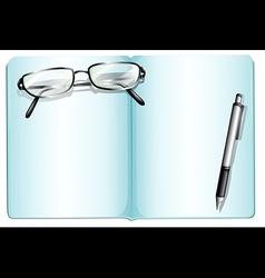 An empty notebook with an eyeglass and a pen vector
