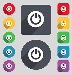 Power switch on turn on icon sign a set of 12 vector