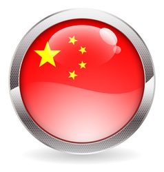 Gloss button with china flag vector