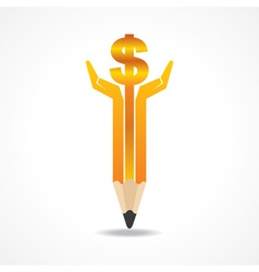 Save money concept with pencil hands vector