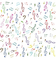 Music colorful treble clef and notes vector