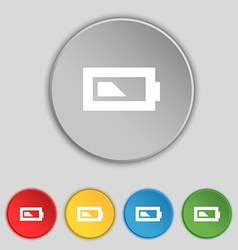 Battery half level icon sign symbol on five flat vector