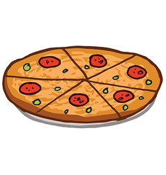 Sliced pepperoni pizza pie vector