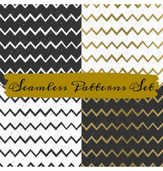 Gold black and white seamless chevron patterns set vector