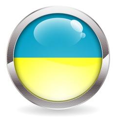 Gloss button with ukraine flag vector