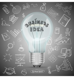 Bulb with drawing business success strategy plan vector