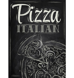 Poster pizza chalk vector