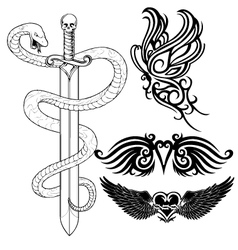 Set of tattoo design vector