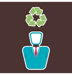 Recycle symbol on human head vector