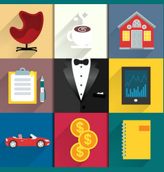 Icons set for luxery life with tuxedo vector