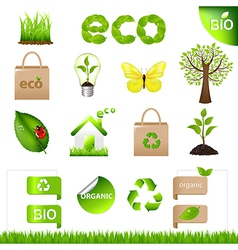 Collection eco design elements and icons vector