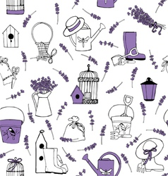 Seamless pattern lavender garden vector