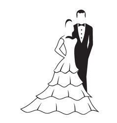 Bride and groom vector