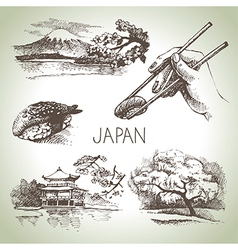 Hand drawn vintage japanese set vector