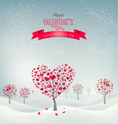 Holiday retro background valentine trees with vector