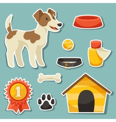 Set of sticker icons and objects with cute dog vector