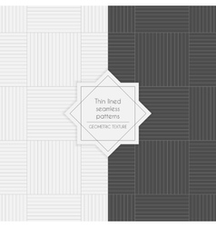 Set of geometric thin lined seamless patterns vector