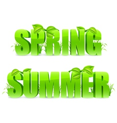 Spring and summer words vector