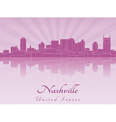 Nashville skyline in purple radiant orchid vector