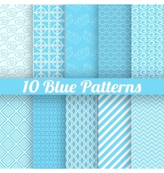 10 blue different seamless patterns tiling vector