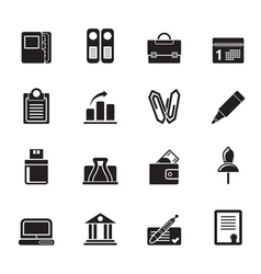 Silhouette business and finance icons vector