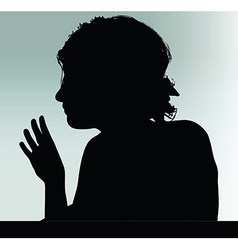 Woman silhouette with hand gesture hey vector