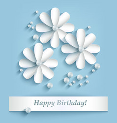 Blue background with paper flowers and pearls vector