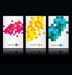 Three colored business cards vector