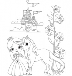 Princess and unicorn vector