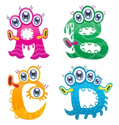 Cartoon monster letters from a to d vector