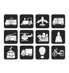 Silhouette travel and transportation icons vector