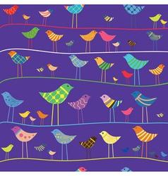 Retro funny bird seamless vector