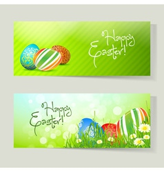 Set of easter cards with eggs vector