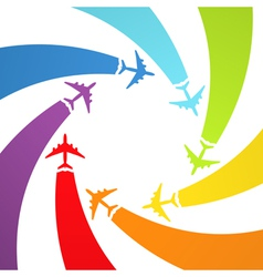 Background with rainbow airplanes vector